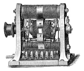 Machine program, vintage engraving