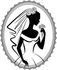 Vintage silhouette of beautiful bride in dress