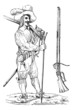 Musketeer of the sixteenth and seventeenth centuries, with his f