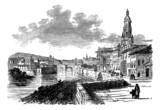 City of Murcia, Spain, vintage engraving poster