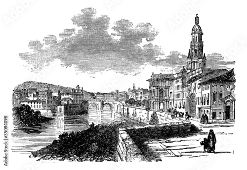 City of Murcia, Spain, vintage engraving