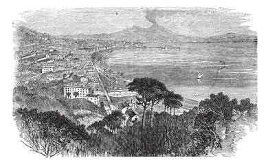 Naples in Campania, Italy, vintage engraved illustration