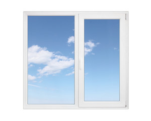 Closed white pvc window