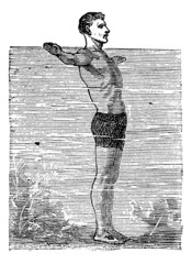 Breaststroke, Third Position, vintage engraved illustration