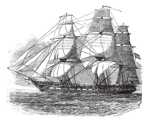 USS Constitution, vintage engraved illustration