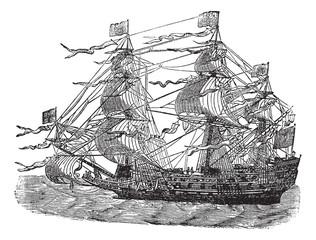 HMS Sovereign of the Seas, vintage engraved illustration