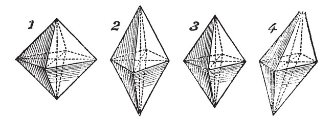 Octahedron, vintage engraved illustration