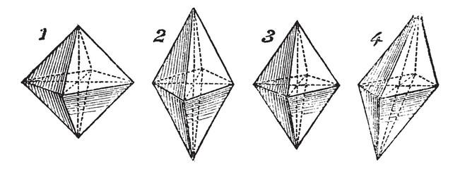 Octahedron, vintage engraved illustration