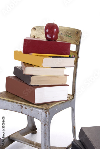 Vintage Childs School Chair and Books