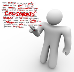 Censored - Man Edits Text Censoring Freedom of Speech