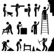 Working Construction Hard Labor Pictogram Icon Symbol Sign