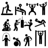 Man Athletic Gym Gymnasium Body Exercise Workout Pictogram poster