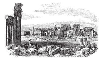 The ruins of Palmyra in Syria vintage engraving