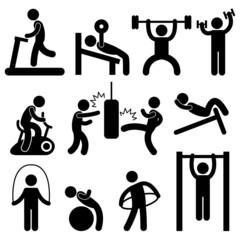 Man Athletic Gym Gymnasium Body Exercise Workout Pictogram