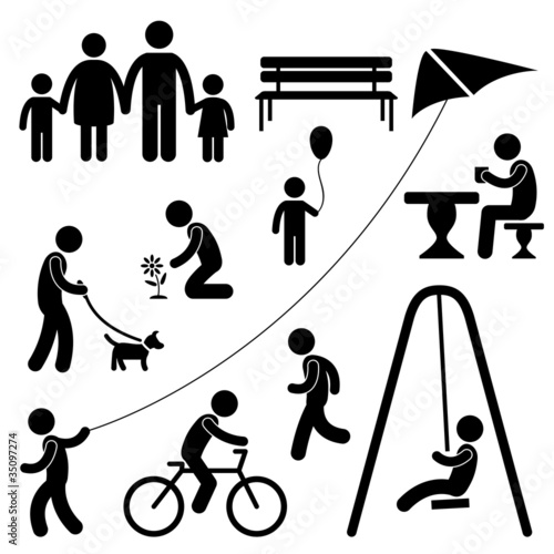 Man Family Children People Garden Park Activity Symbol Pictogram