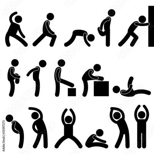 Man People Athletic Exercise Stretching Symbol Pictogram Icon