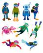 cartoon diver icons.