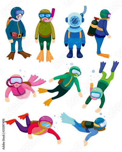 cartoon diver icons.