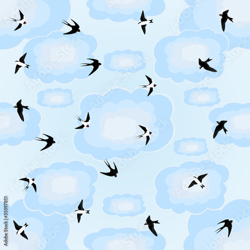 Swallows in the sky