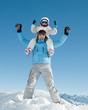 Ski, snow, sun and fun  ( copy space, cover)