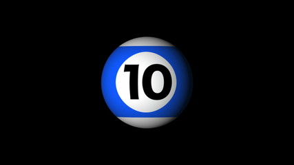 billard ball count down with alpha