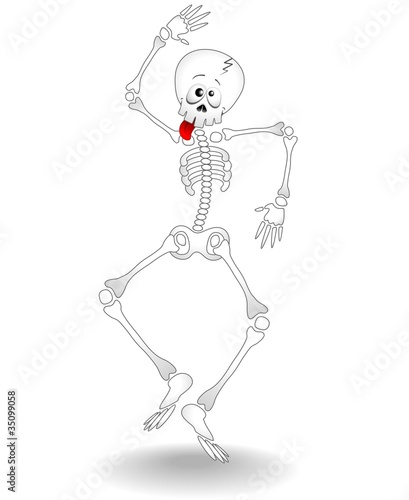 Scheletro Buffo Cartoon-Funny Skeleton Dancer-Vector