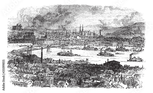 City of Pittsburgh. vintage engraving.