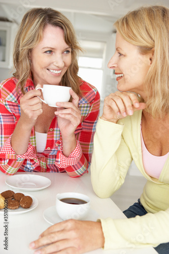 Mid age women chatting over coffee at home