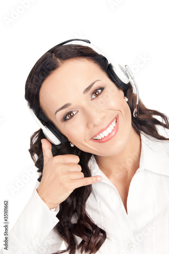 Support phone operator with call me gesture