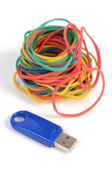 USB disk and rubber bands