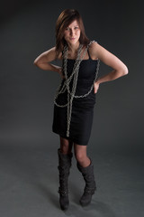 Studio shot of girl with chain