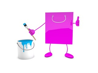 Papiertüte mit Pinsel und Farbe / shoppingbag, brush, paint-pot