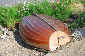 overturned rowing boat