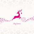 Jumping Reindeer, Christmas Ball & Snowflakes Pink