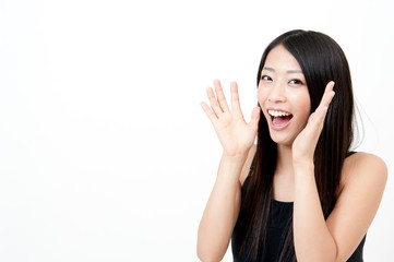 a portrait of attractive asian woman cheering