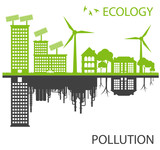 Fototapety Green ecology city against pollution vector