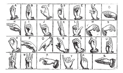 One-handed manual alphabets vintage engraving