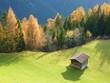 Ferienhütte mit herbstlichem Hintergrund
