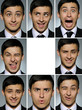 Collage group picture of many business man facial expressions. b