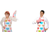 Funny collage with cooking couple - man in apron and one chef wo