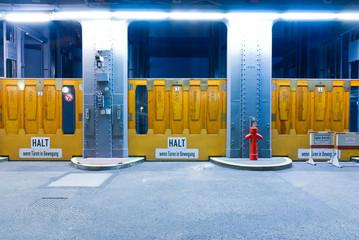 Three elevator gates