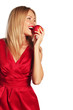 woman and red apple