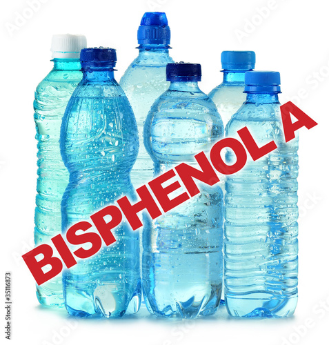 anti bisphenol A sign with plastic bottles of mineral water