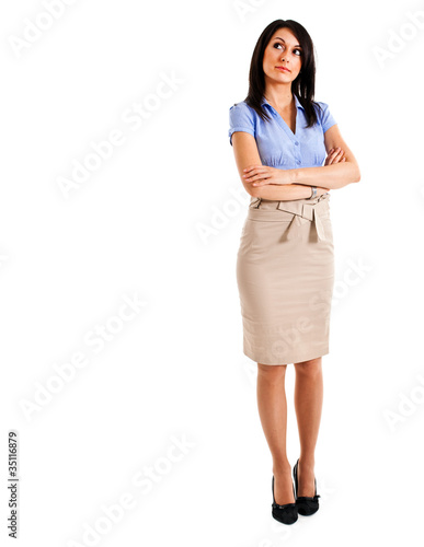 Full length thoughtful businesswoman