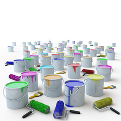 buckets with paint and brushes