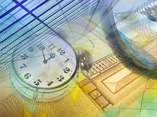 Money, clock and buildings
