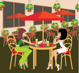 Two young woman in cafe. vector