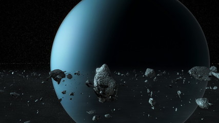 CGI render of the planet Uranus from inside the planetary rings.