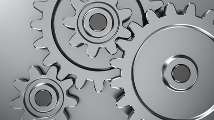 Rotating gears on steel background