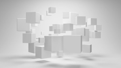 Abstract geometric shapes from cubes in rotation
